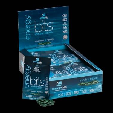 energybits spirulina display box of 30 single servings
